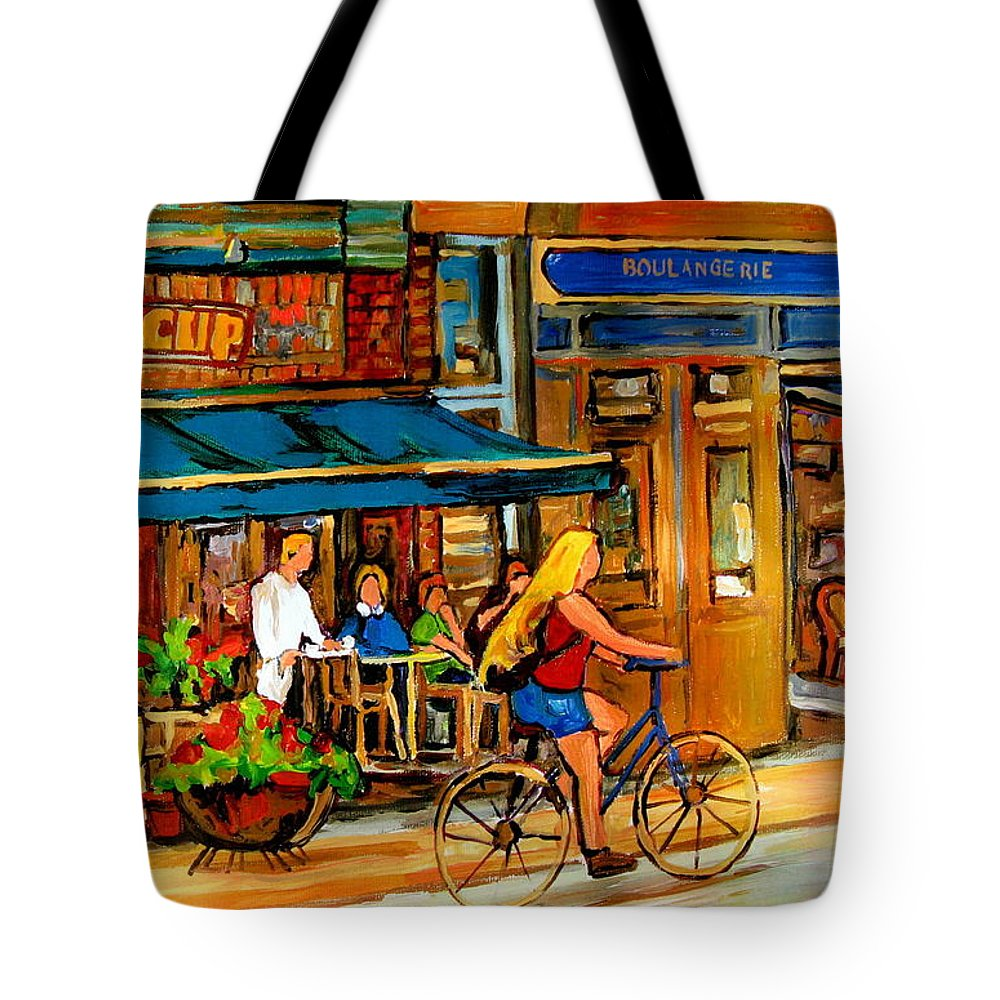 Cafes Tote Bag featuring the painting Cafes With Blue Awnings by Carole Spandau