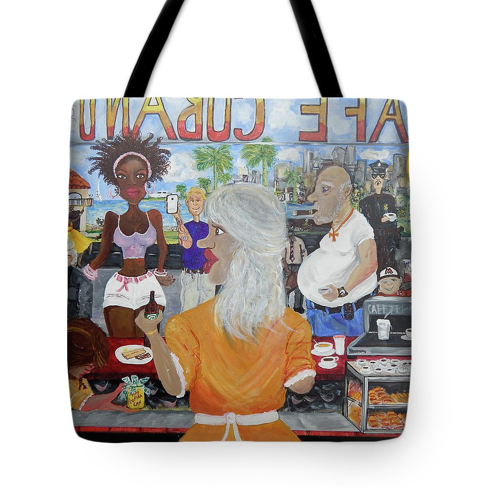 Miami Tote Bag featuring the painting Cafeteria by Jorge Delara