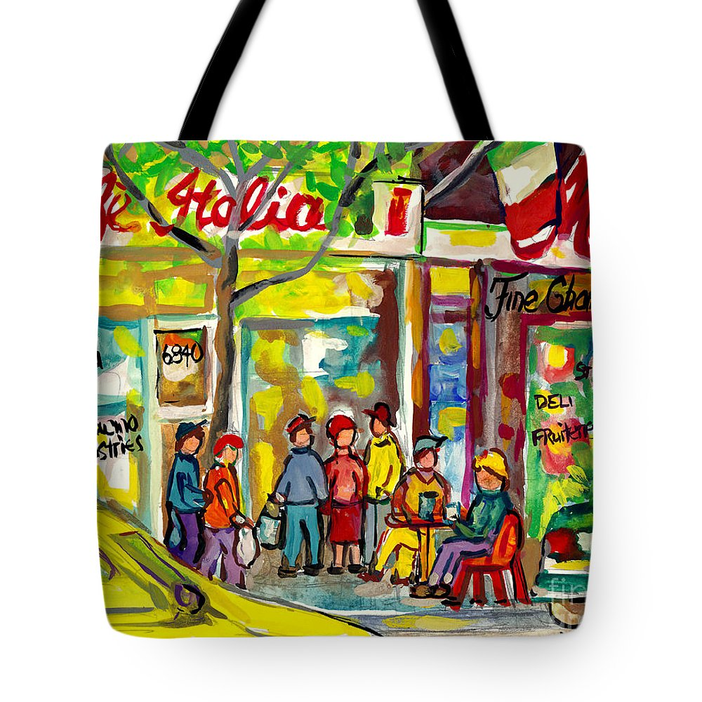 Montreal Tote Bag featuring the painting Caffe Italia And Milano Charcuterie Montreal Watercolor Streetscenes Little Italy Paintings Cspandau by Carole Spandau