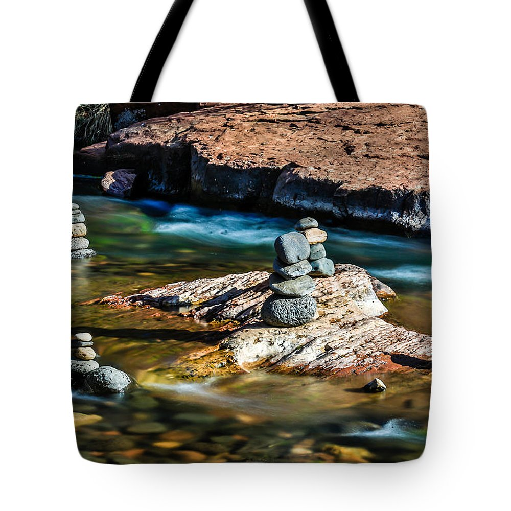 Arizona Tote Bag featuring the photograph Cairns In The Creek by Dennis Swena