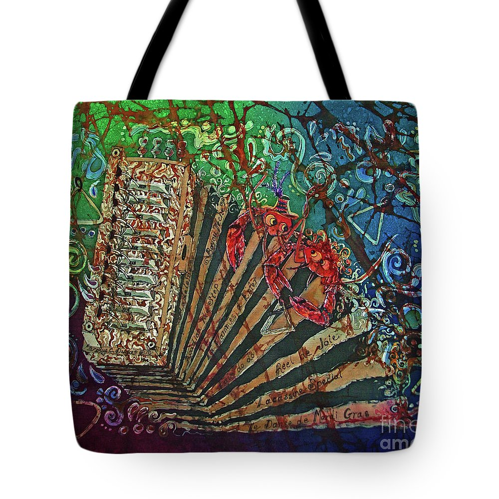 Cajun Tote Bag featuring the painting Cajun Accordian by Sue Duda