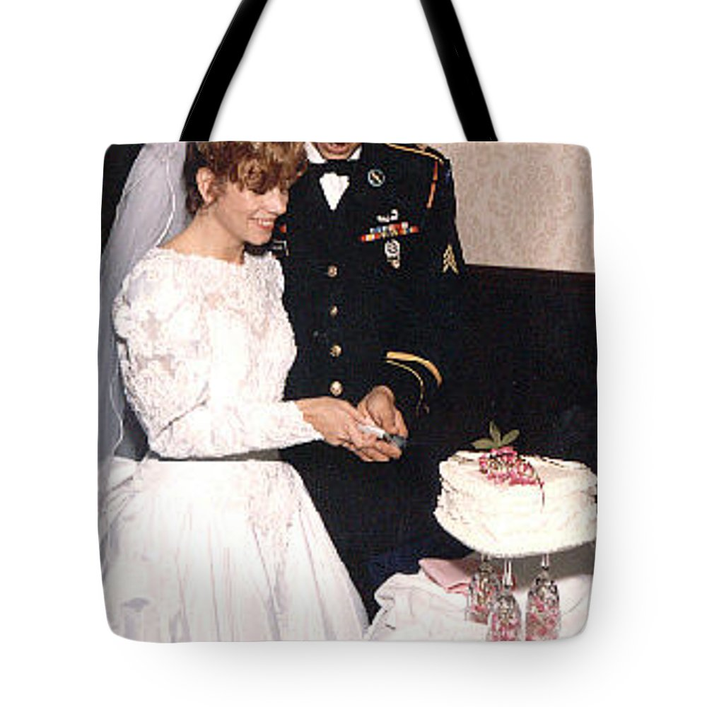 Wedding Tote Bag featuring the photograph Cake Cutting by John Graziani