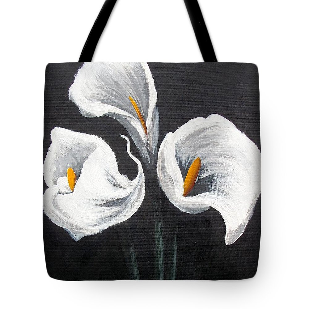 Lilies Tote Bag featuring the painting Cala by Tami Booher