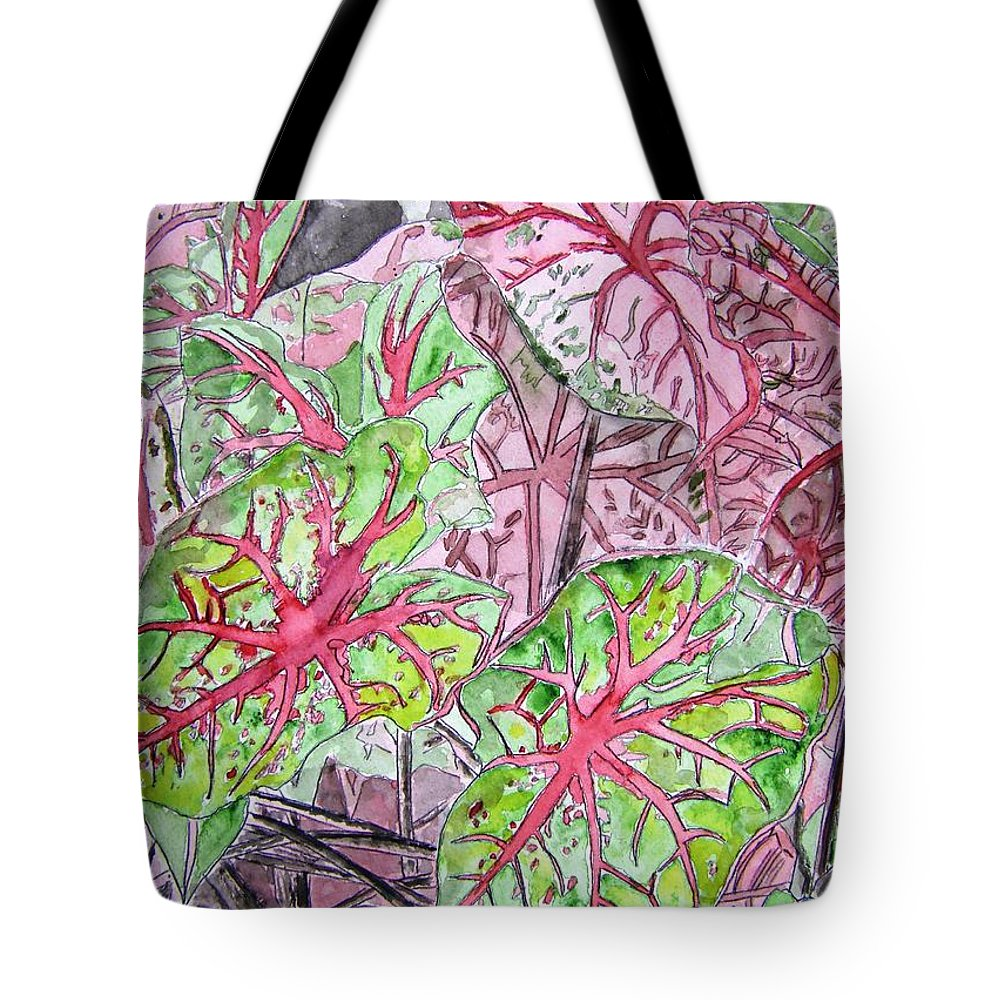 Watercolour Tote Bag featuring the painting Caladiums Tropical Plant Art by Derek Mccrea