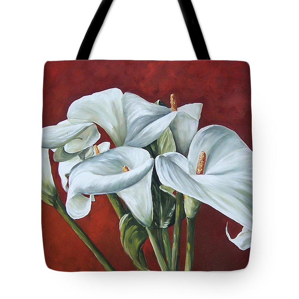 Calas Tote Bag featuring the painting Calas by Natalia Tejera