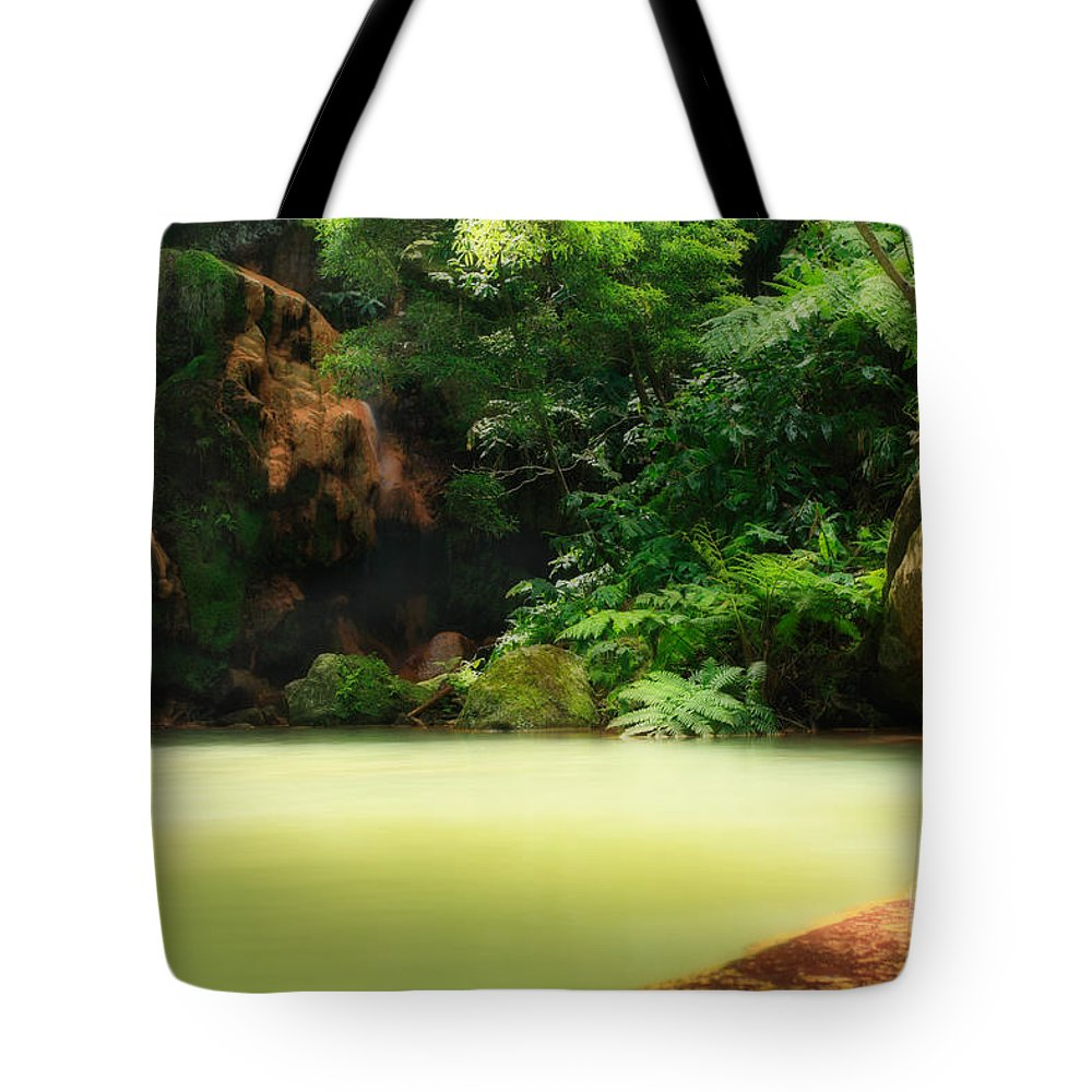 Azoren Tote Bag featuring the photograph Caldeira Velha Thermal Pool by Gaspar Avila