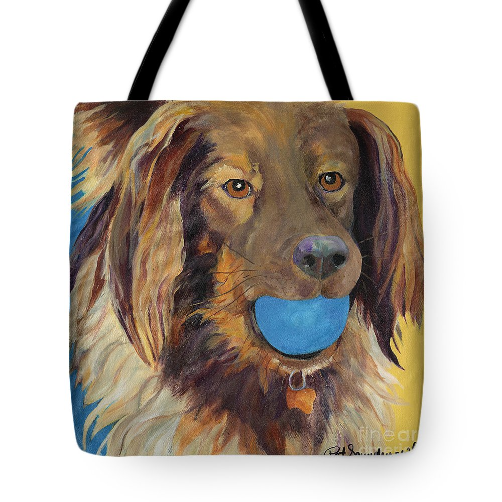Dog Art Tote Bag featuring the painting Caleigh by Pat Saunders-White