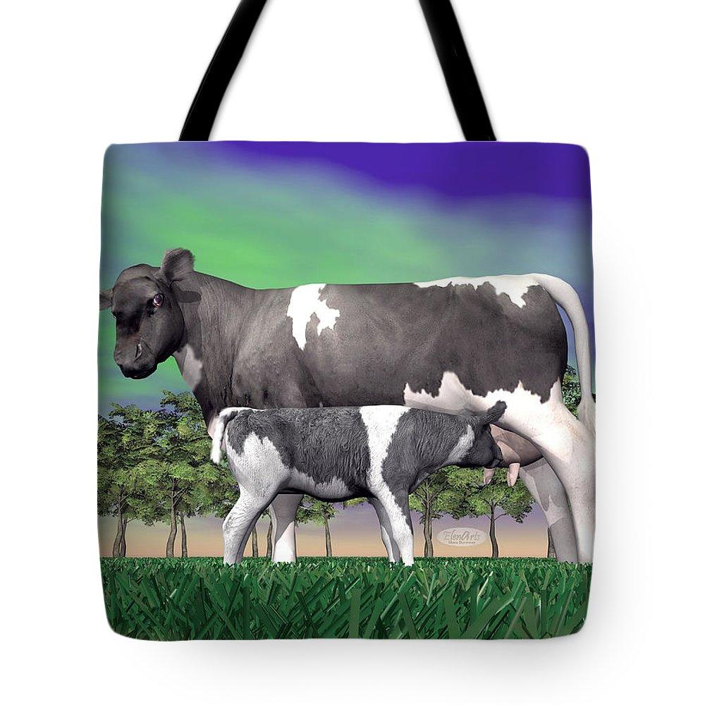 Calf Tote Bag featuring the digital art Calf Suckling - 3d Render by Elenarts - Elena Duvernay Digital Art