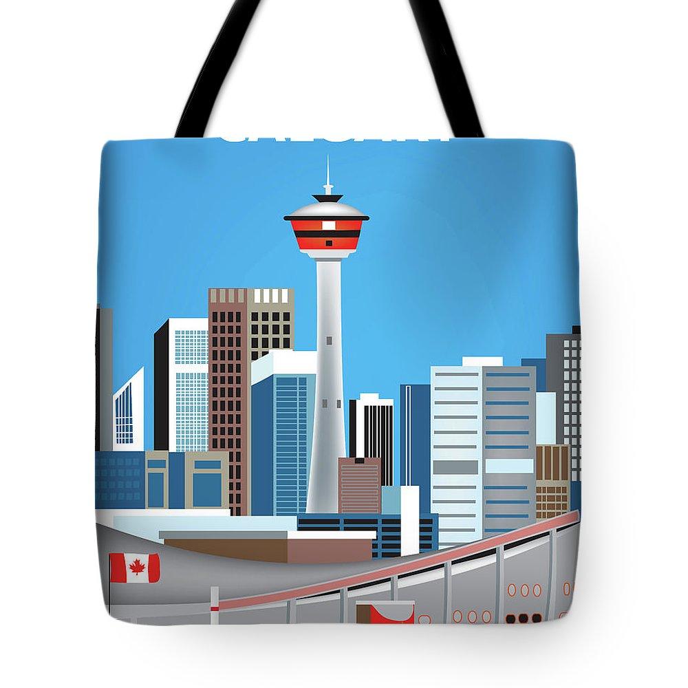 Calgary Tote Bag featuring the digital art Calgary Alberta Canada Vertical Skyline by Karen Young