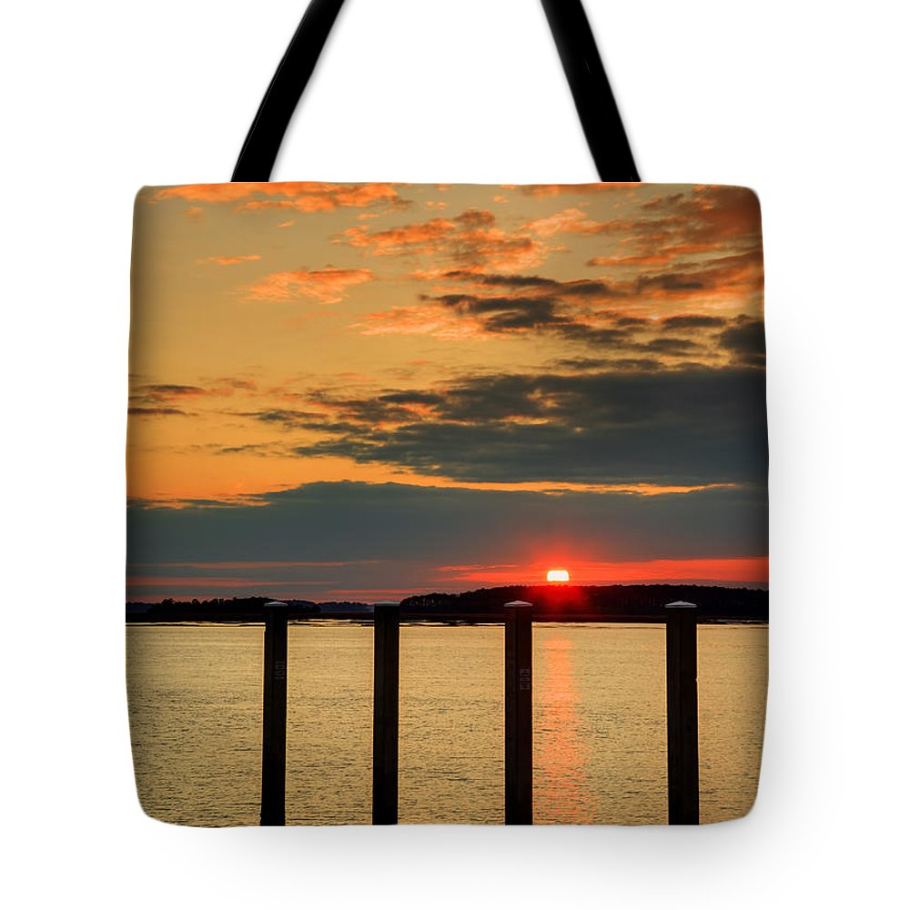 Calibogue Sound Tote Bag featuring the photograph Calibogue Sound Sunset by Phill Doherty