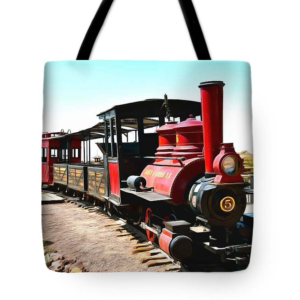 Calico And Odessa Rail Road Tote Bag featuring the painting Calico And Odessa Rail Road by Barbara Snyder