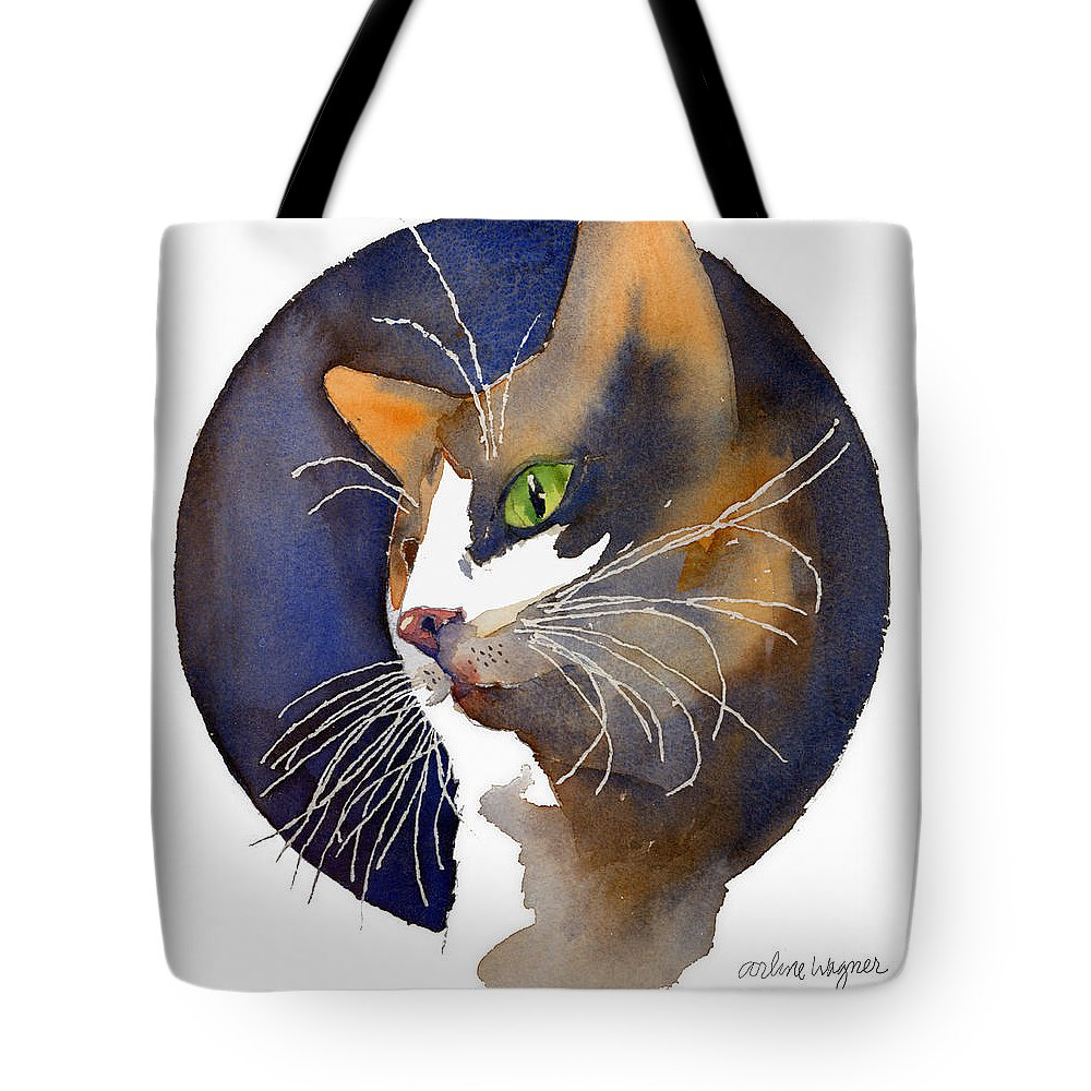 Cat Tote Bag featuring the painting Calico by Arline Wagner