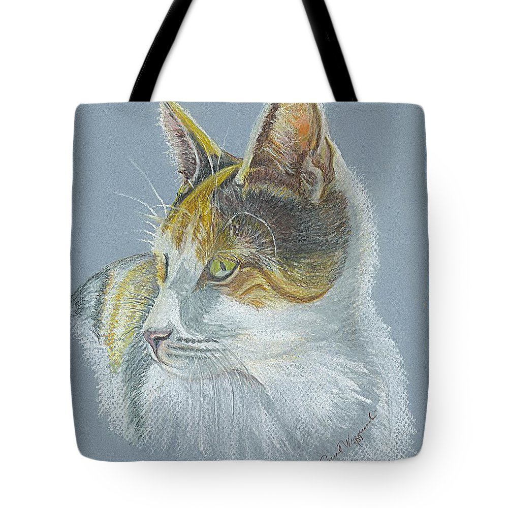 Pastel Tote Bag featuring the drawing Calico Callie by Carol Wisniewski