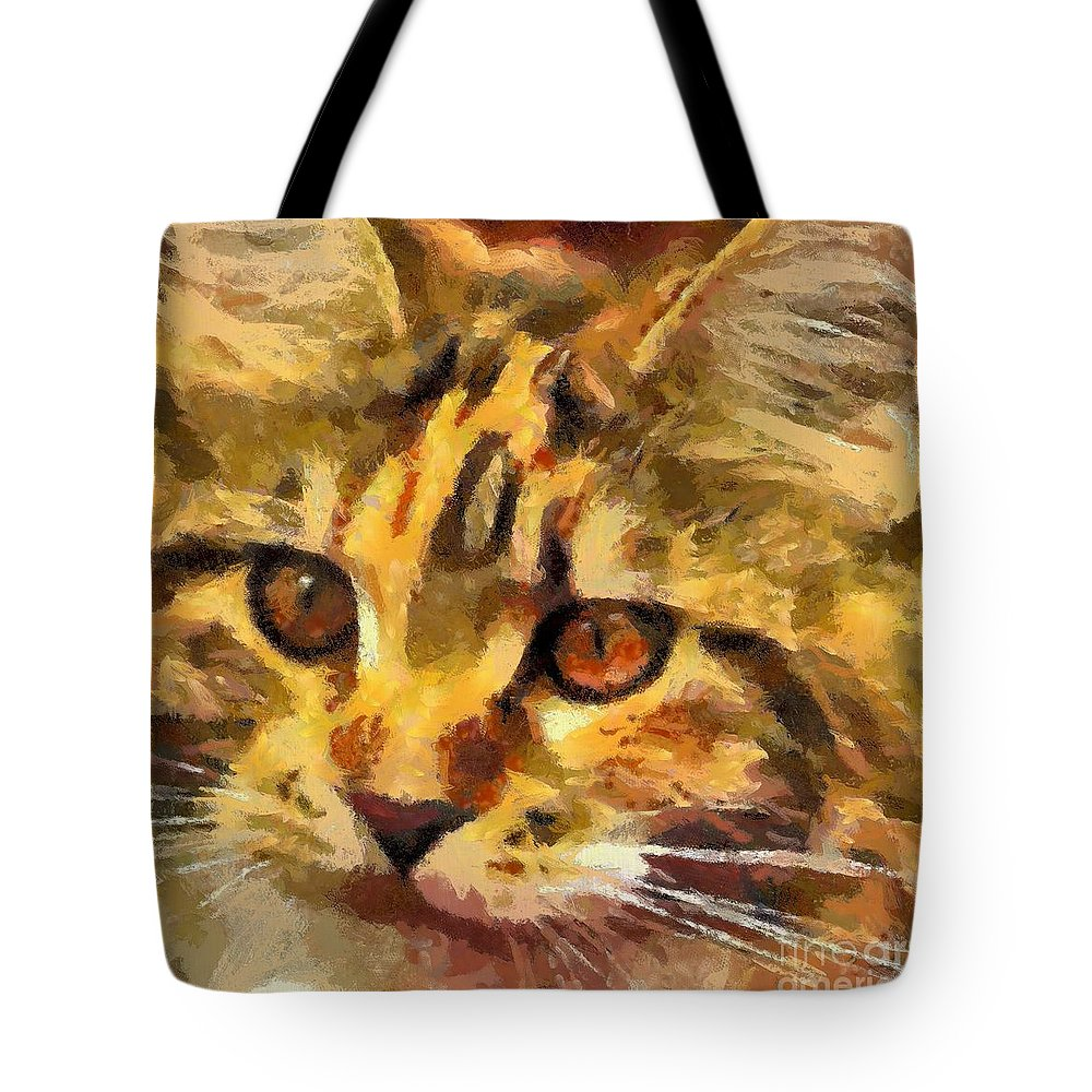 Animal Tote Bag featuring the painting Calico Cat by Dragica Micki Fortuna