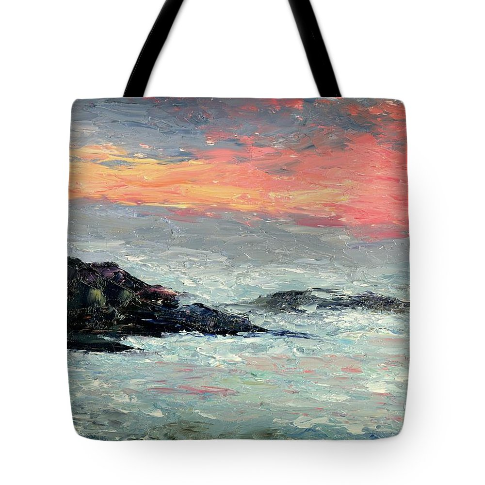 Seascape Tote Bag featuring the painting California Coast by Gail Kirtz
