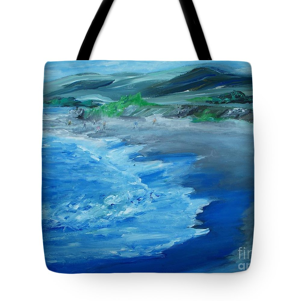 California Coast Tote Bag featuring the painting California Coastline Impressionism by Eric Schiabor