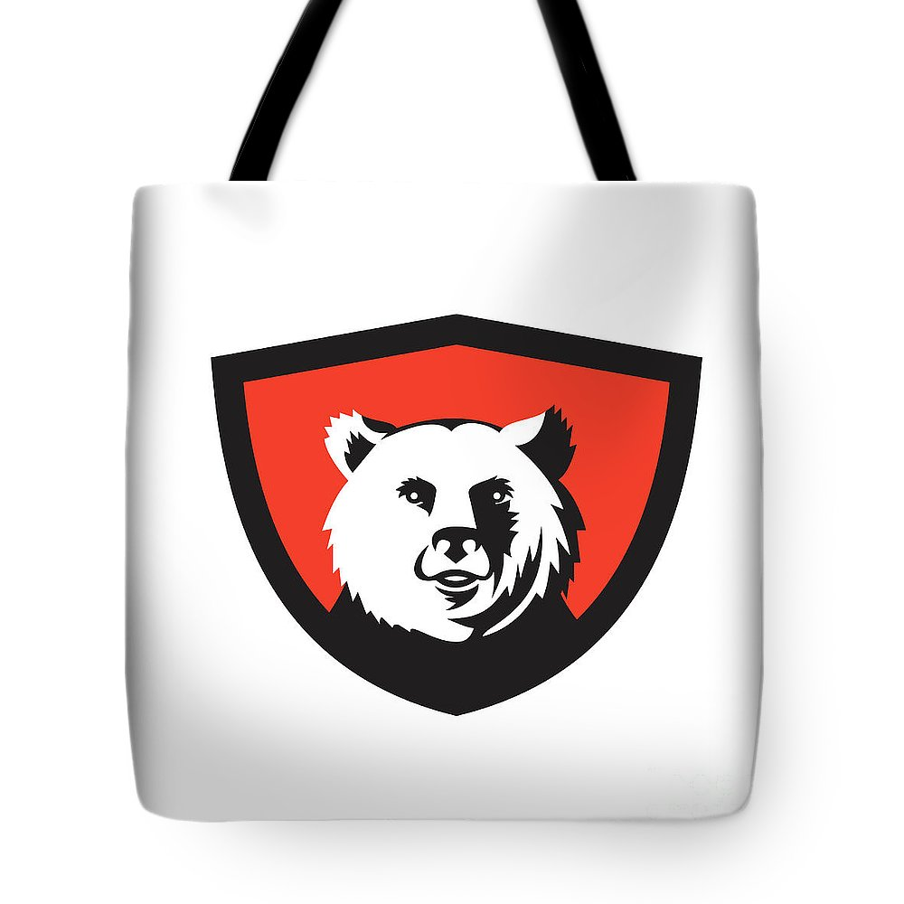 California Grizzly Tote Bag featuring the digital art California Grizzly Bear Head Smiling Crest Retro by Aloysius Patrimonio