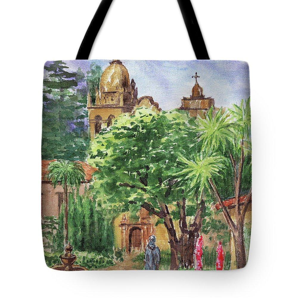 Carmel Tote Bag featuring the painting California Mission Carmel Basilica by Irina Sztukowski