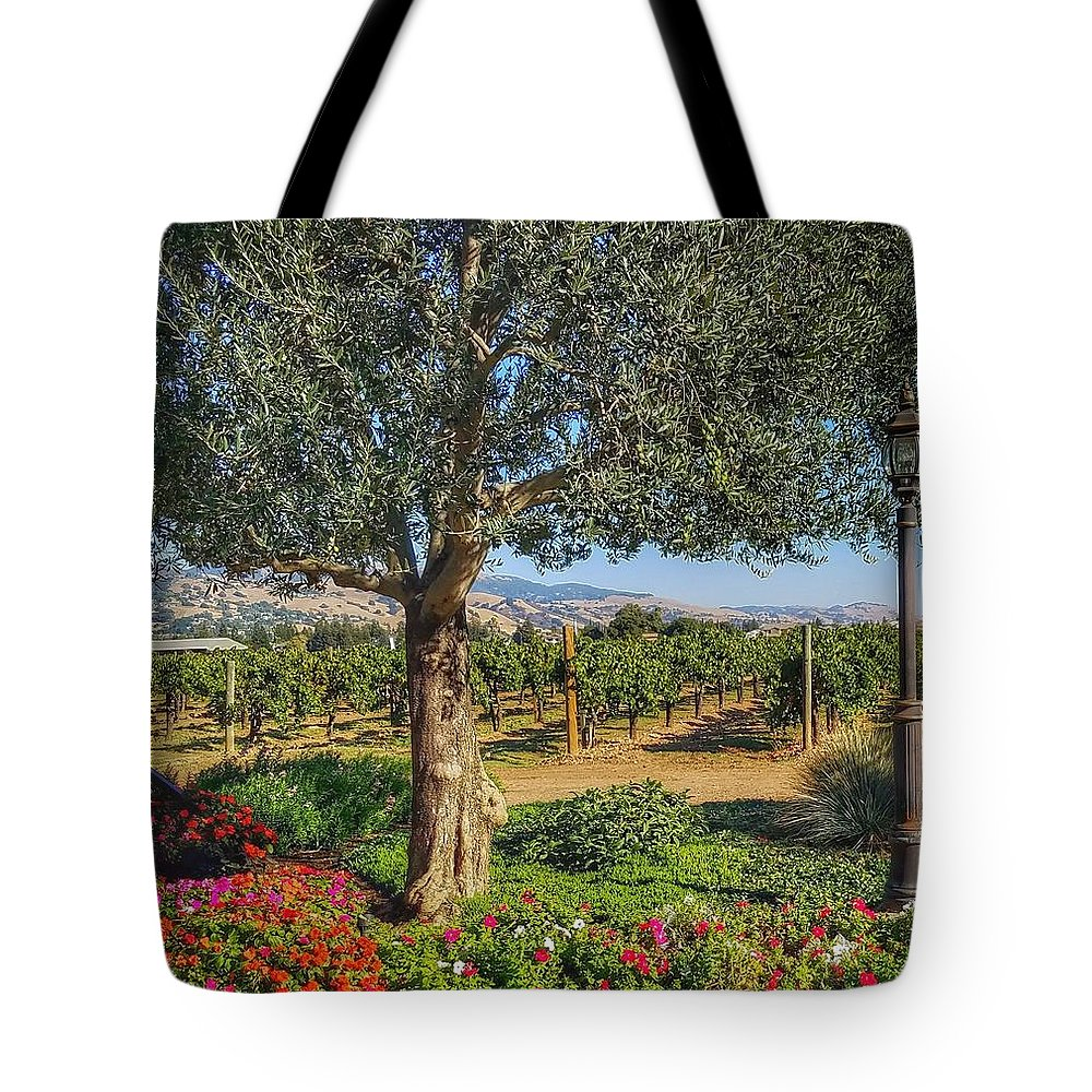 Morgan Hill Tote Bag featuring the photograph California Wine Country by Mary Capriole