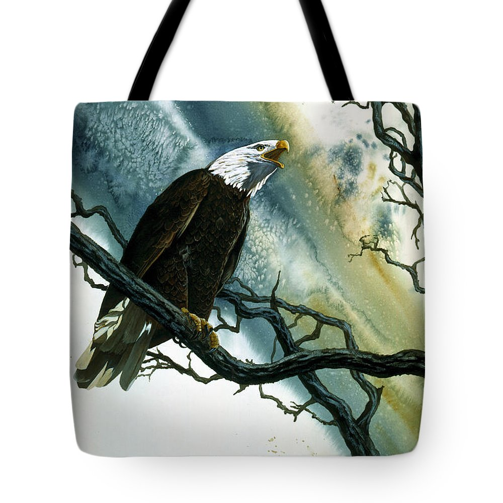 Bald Eagle Tote Bag featuring the painting Call Of The Wild by Dale Cooper