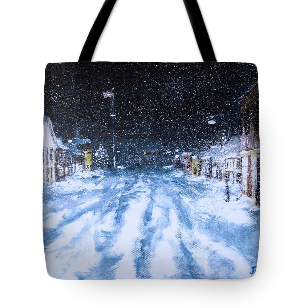 Snow Tote Bag featuring the painting Call Out The Plows by Jack Skinner