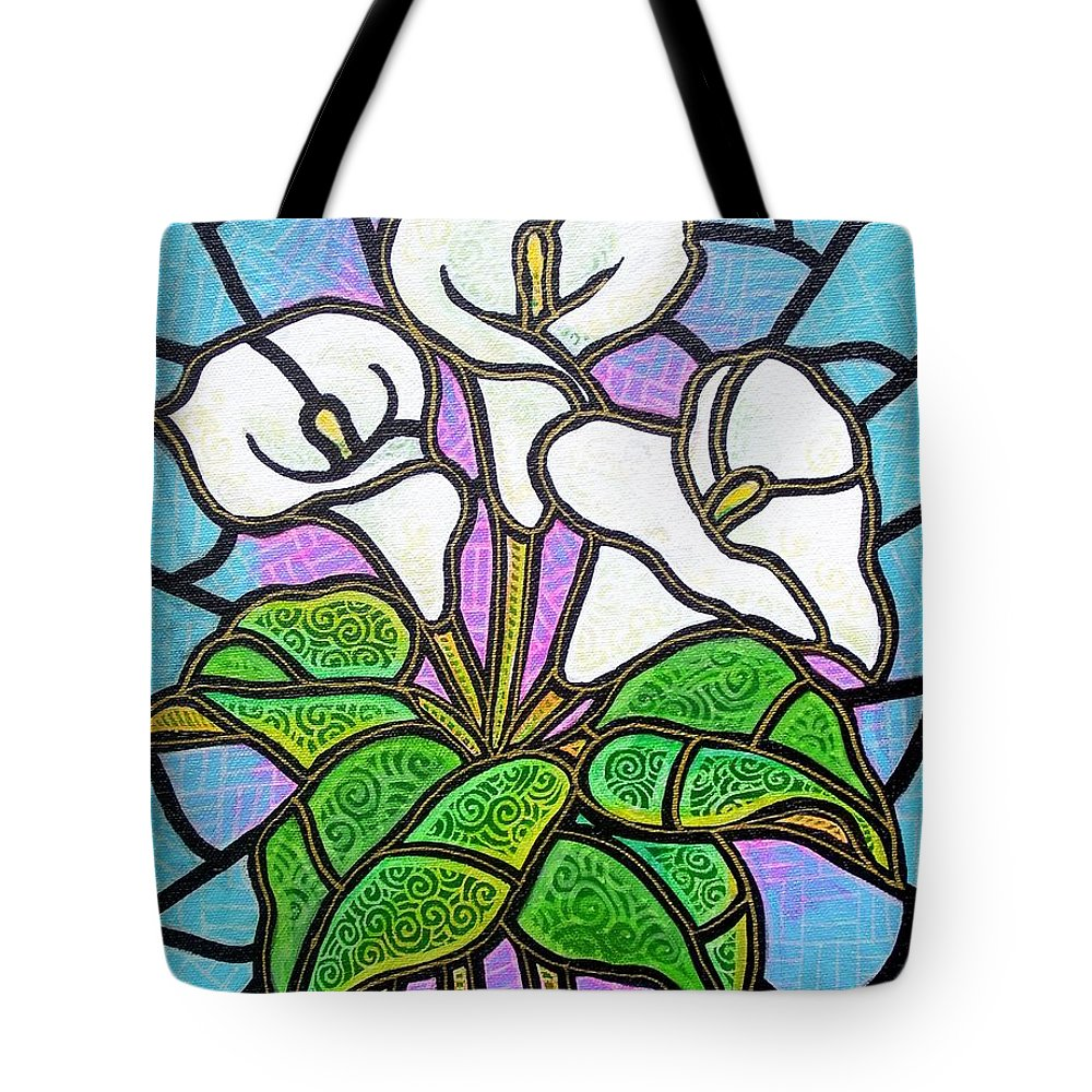 Flowers Tote Bag featuring the painting Calla Lilies 3 by Jim Harris