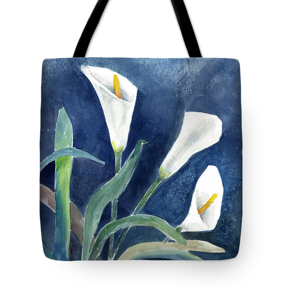Lily Tote Bag featuring the painting Calla Lilies by Arline Wagner