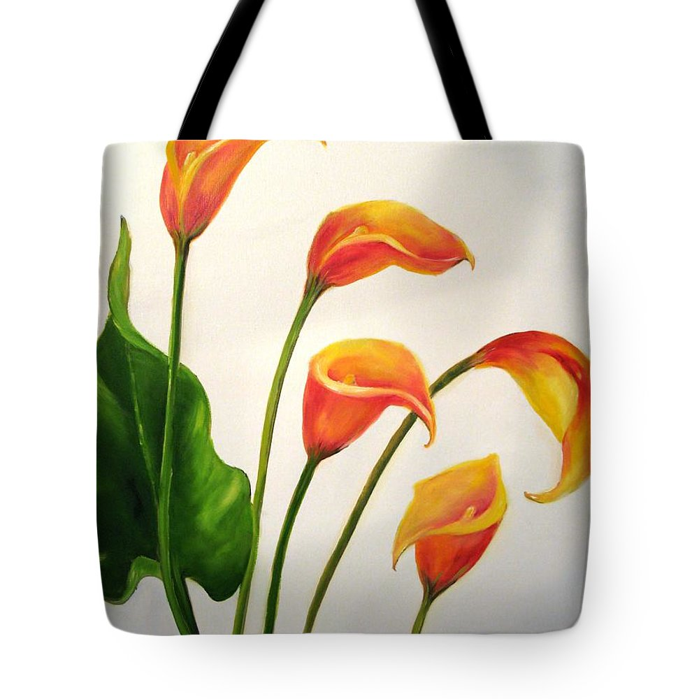 Calla Lilies Tote Bag featuring the painting Calla Lilies by Carol Sweetwood