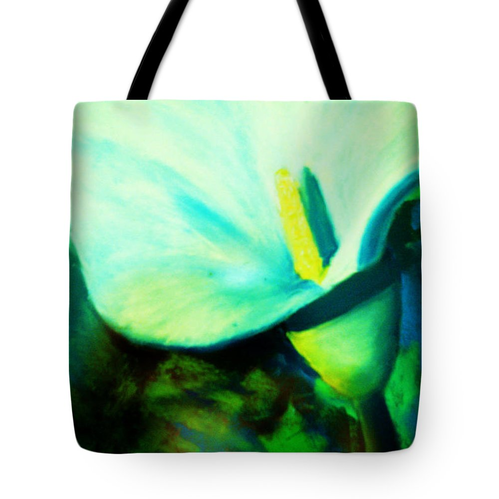 White Calla Lily Tote Bag featuring the painting Calla Lily by Melinda Etzold