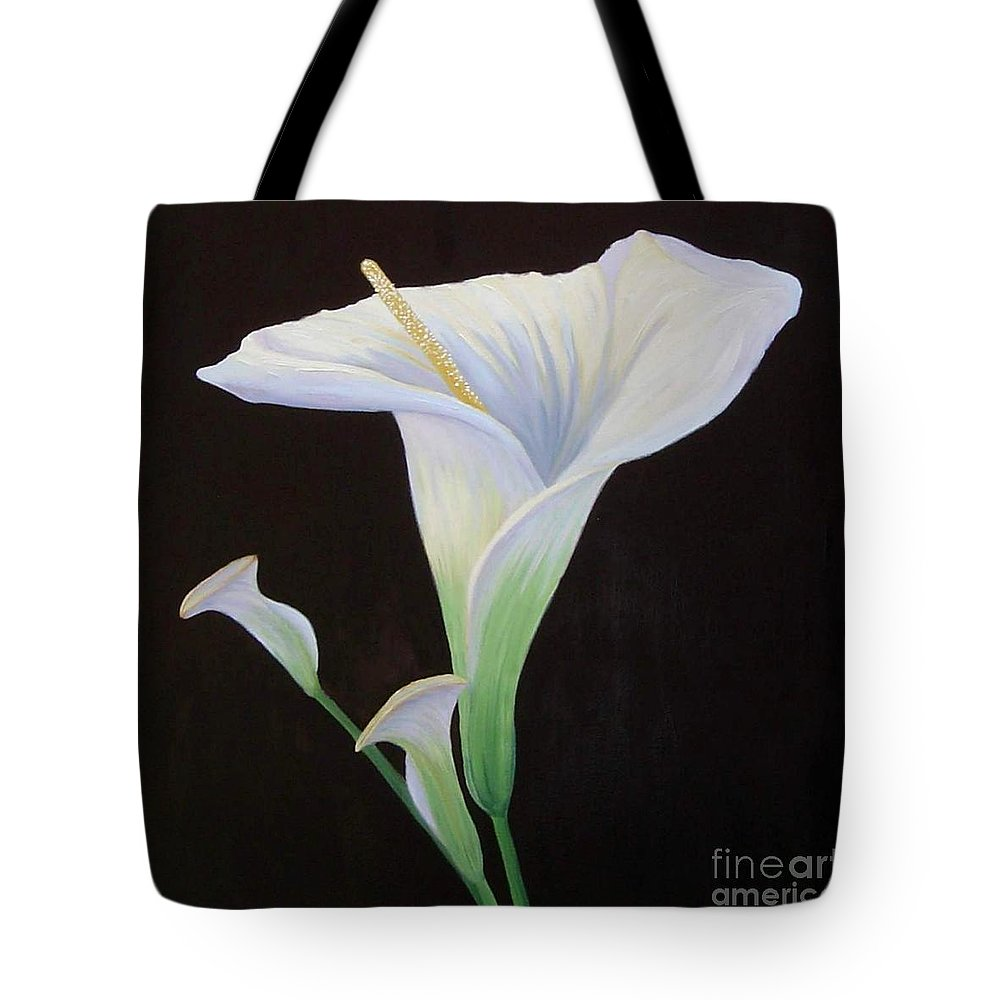 Flower Portrait Tote Bag featuring the painting Calla Lily X by Mary Erbert
