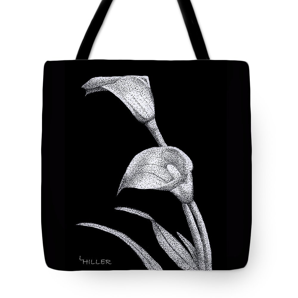 Flower Tote Bag featuring the drawing Calla by Linda Hiller