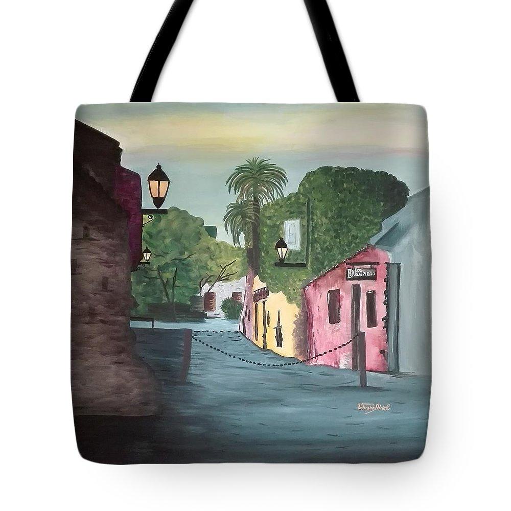 Ciudad Antigua Tote Bag featuring the painting Calle De Los Suspiros, Colonia. Uruguay by Fabiana Haiek