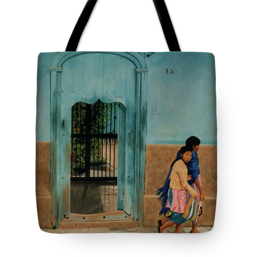 Hyperrealism Tote Bag featuring the painting Calle Hermanos Dominquez by Michael Earney