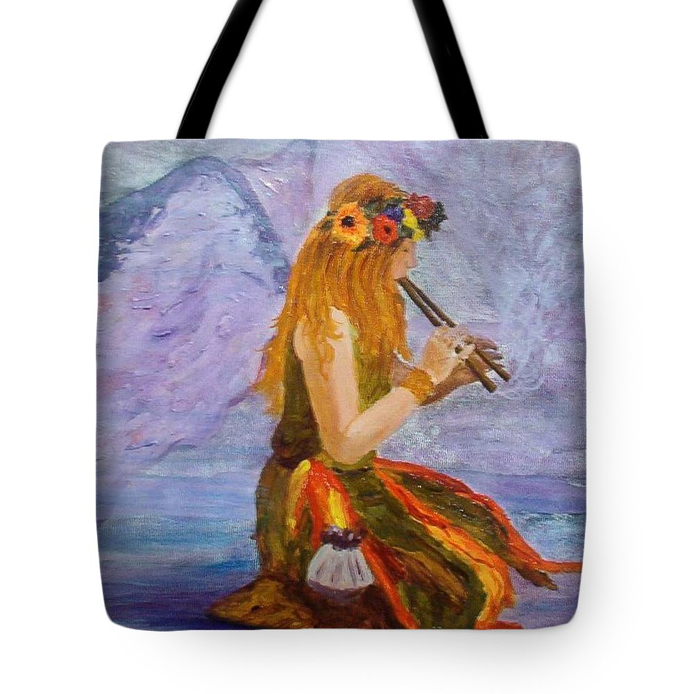 Tote Bag featuring the painting Calling The Wolf Spirit by Tami Booher