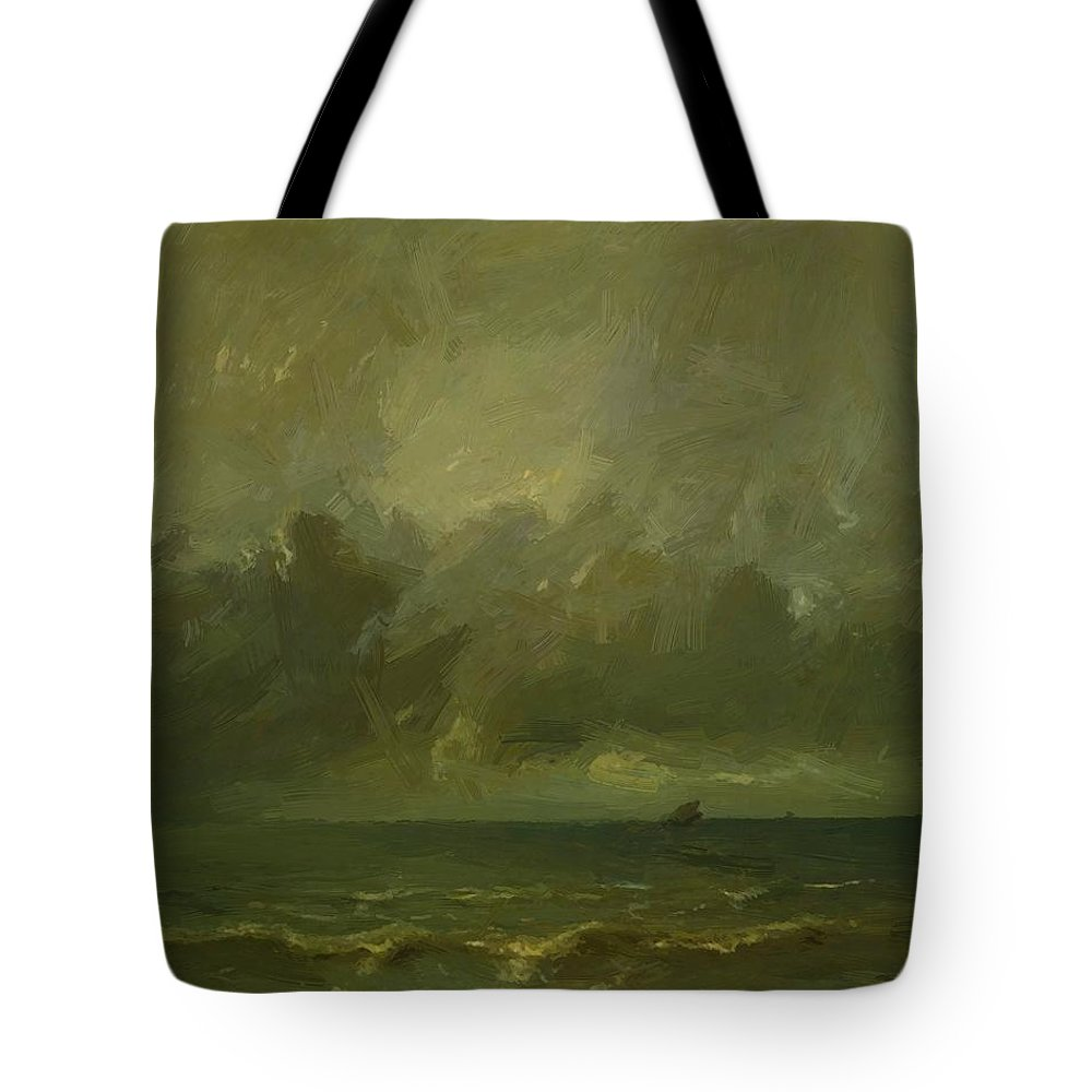 Calm Tote Bag featuring the painting Calm Before The Storm 1870 by Dupre Jules