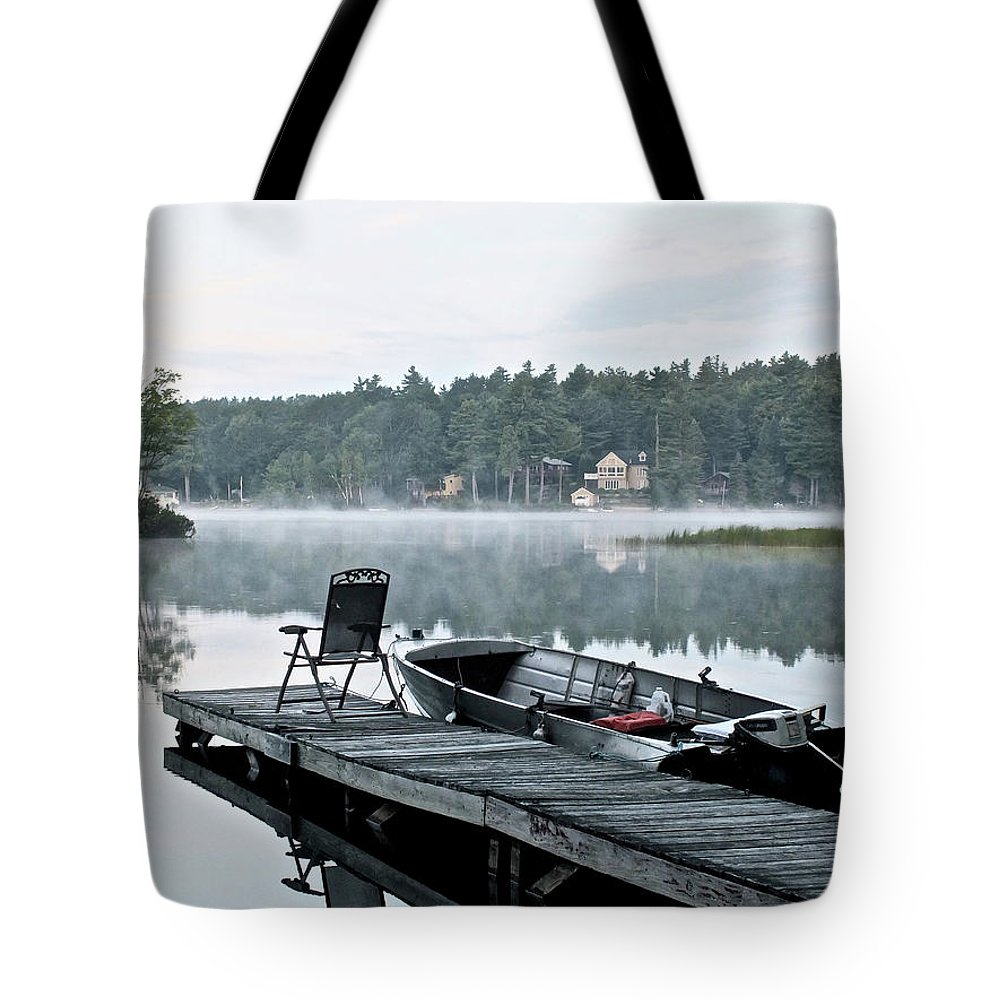 Lake Tote Bag featuring the photograph Calm Morning On Little Sebago Lake by Jesse MacDonald