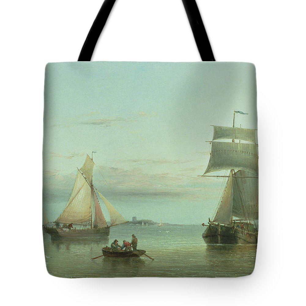 An East Indiaman And Other Shipping Off The Coast Tote Bag featuring the painting Calm On The Humber, 1864 by Henry Redmore