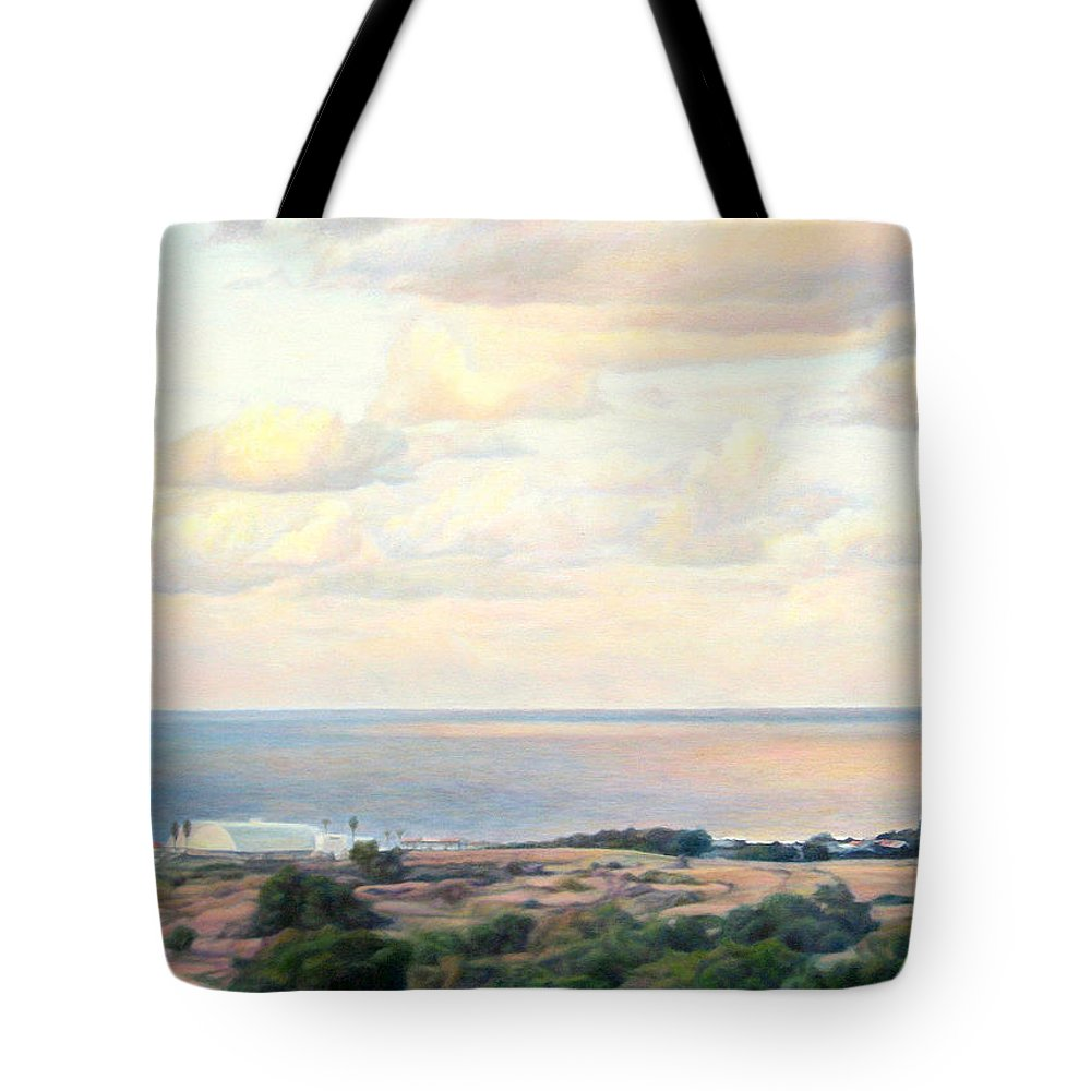 Beach Tote Bag featuring the painting Calm Sea... View From My Balkon by Maya Bukhina