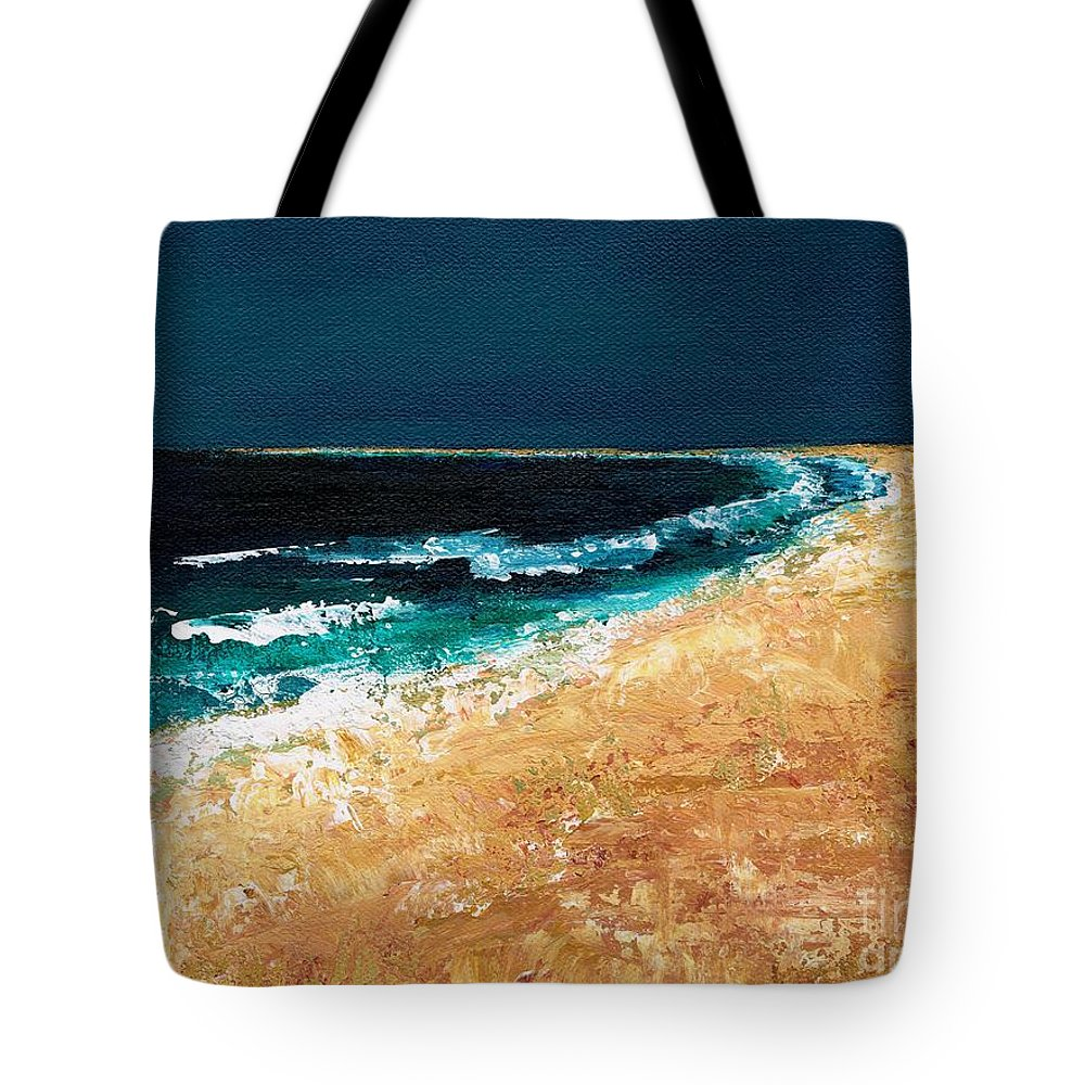 Ocean Tide Tote Bag featuring the painting Calming Waters by Frances Marino