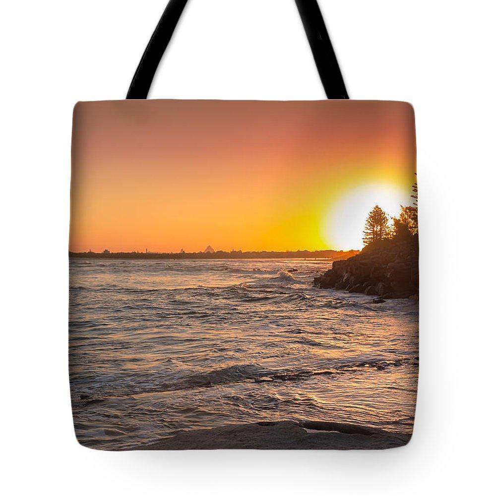Australia Tote Bag featuring the photograph Caloundra Beach Sunset by Jukka Heinovirta