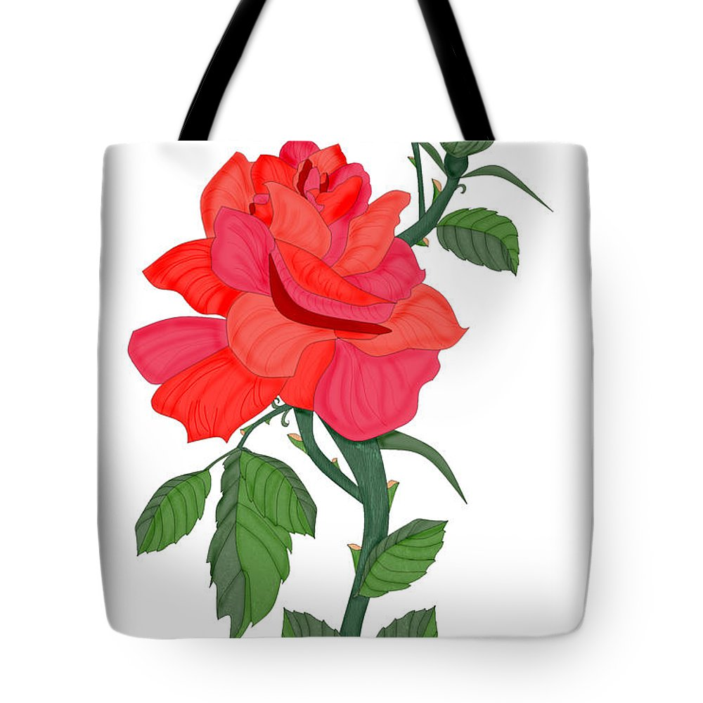 Red Rose Tote Bag featuring the painting Calypso Rose by Anne Norskog