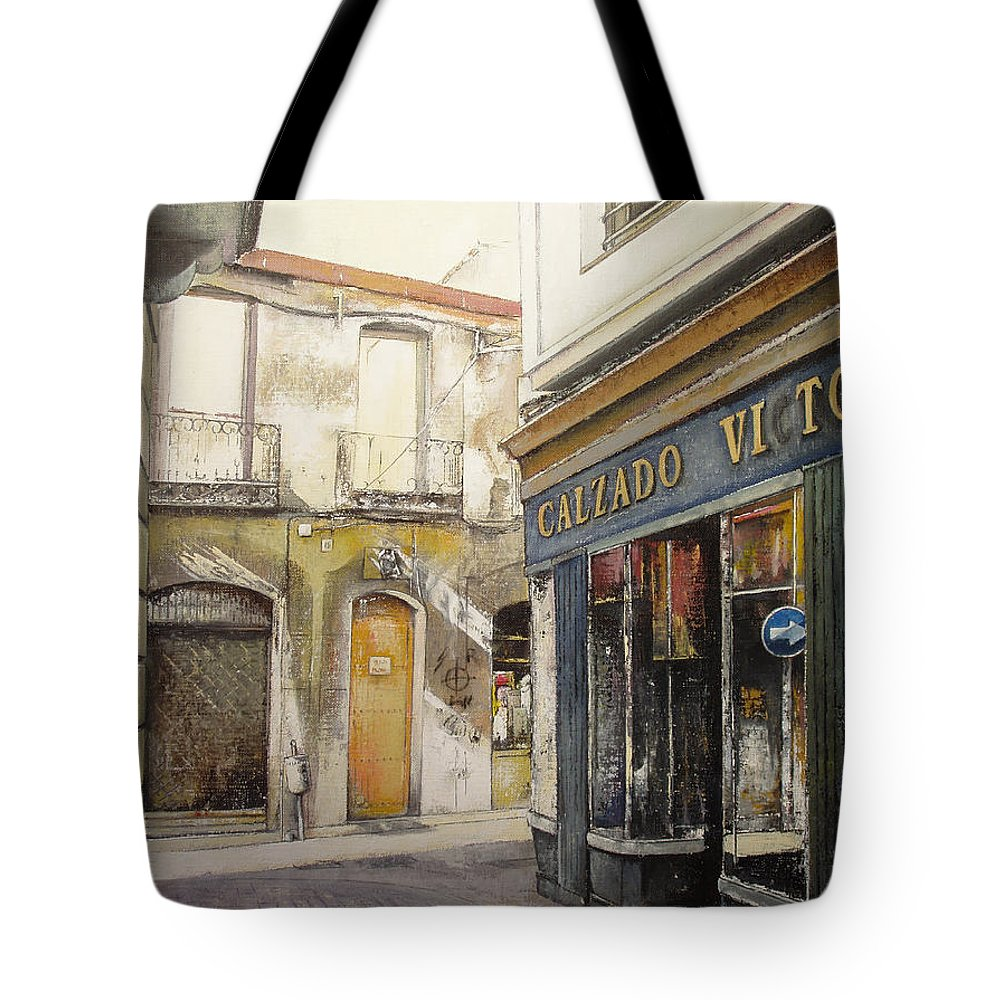 Calzados Tote Bag featuring the painting Calzados Victoria-leon by Tomas Castano