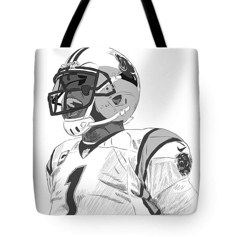 Cam Newton Tote Bag featuring the digital art Cam Newton by Johnathan Horne