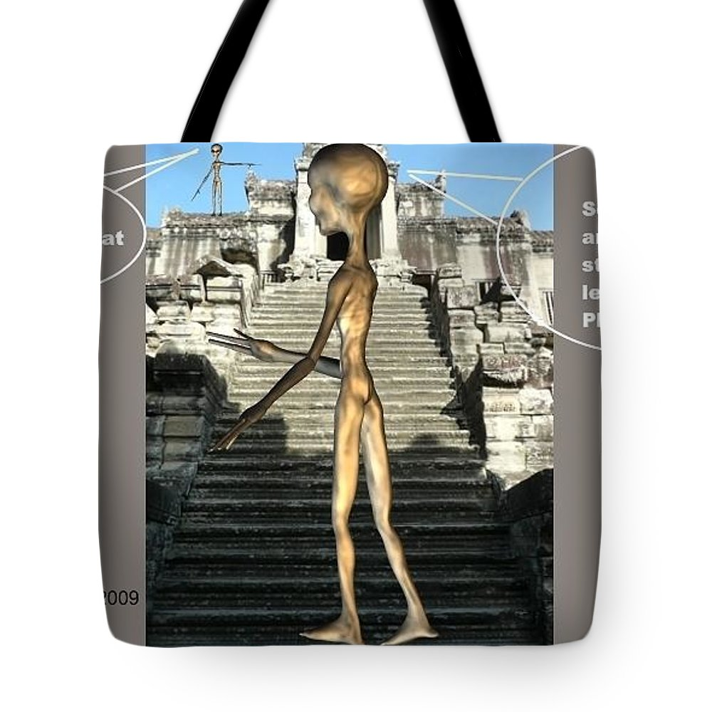 Space Art Cambodia Comics Alien Nutz Tote Bag featuring the mixed media Cambidia 3 by Robert aka Bobby Ray Howle