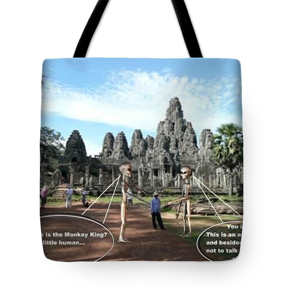 Alien Nutz Comics Cambodia Tote Bag featuring the mixed media Cambodia 2 by Robert aka Bobby Ray Howle