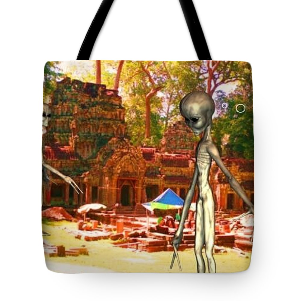 Alien Nutz Space Art Comics Tote Bag featuring the mixed media Cambodia 4 by Robert aka Bobby Ray Howle