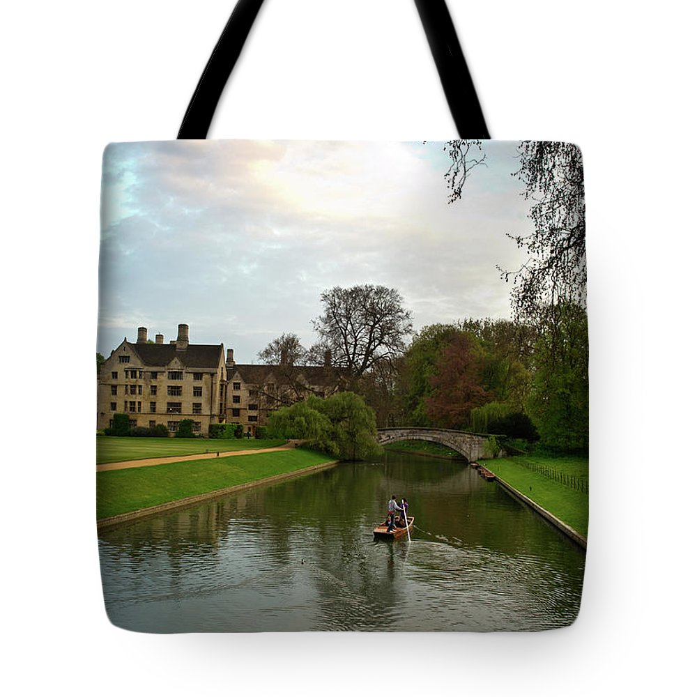 Stratford Tote Bag featuring the photograph Cambridge Clare College Stream Boat And Boys by Douglas Barnett