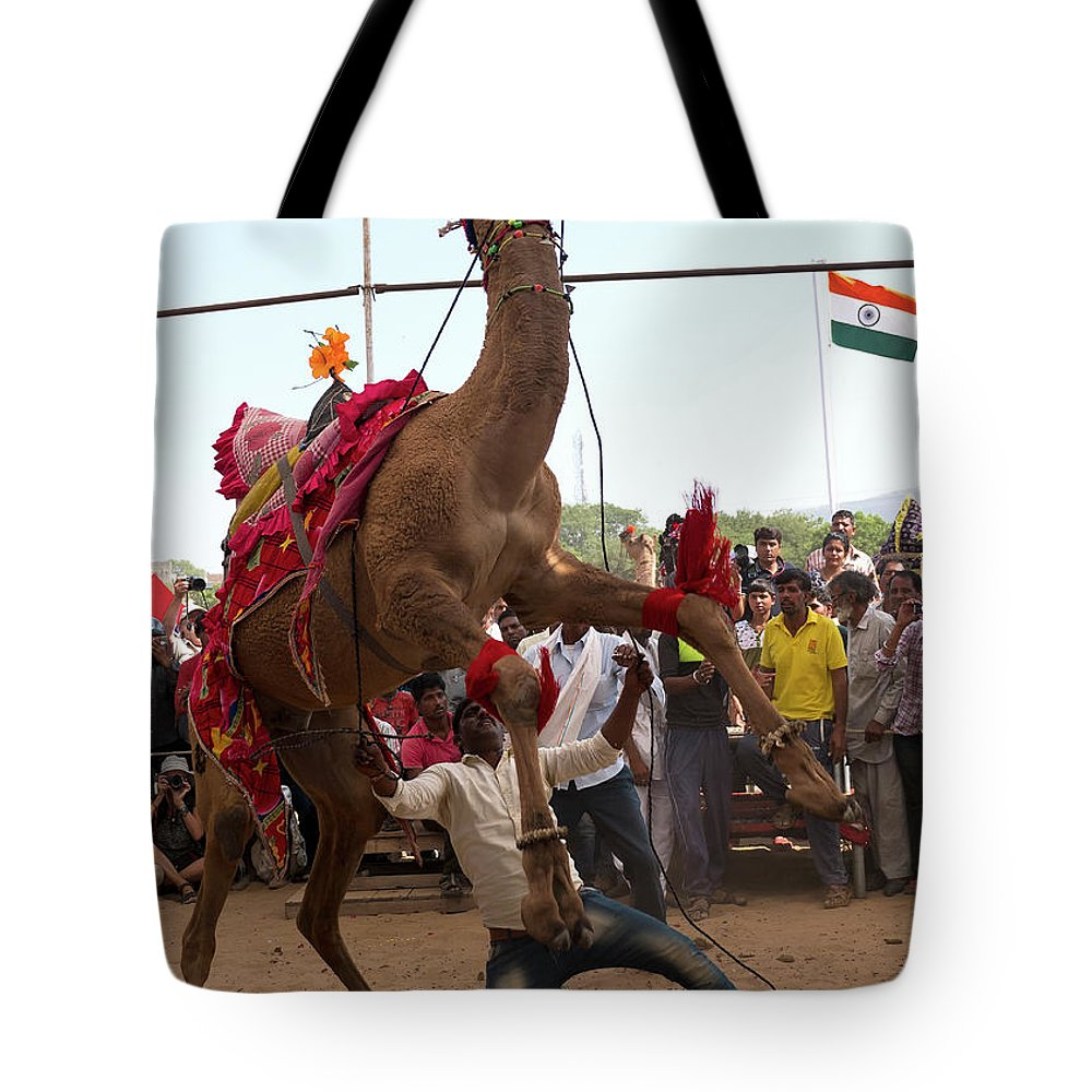 Camel Dance Tote Bag featuring the photograph Camel Dance Pushkar by Doug Matthews
