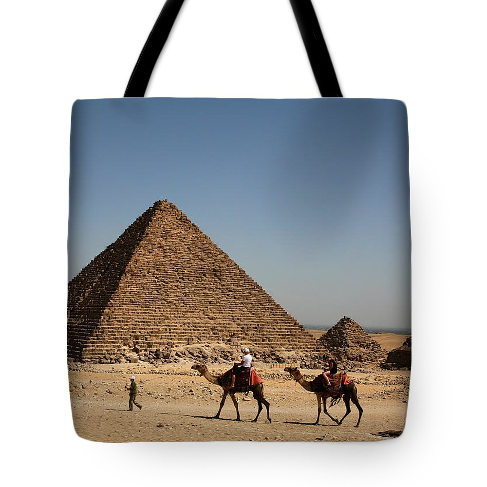 Camels Tote Bag featuring the photograph Camel Ride At The Pyramids by Donna Corless