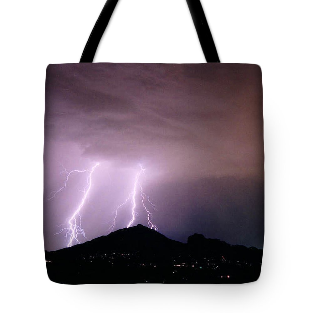 Lightning Tote Bag featuring the photograph Camelback Scratch by Cathy Franklin
